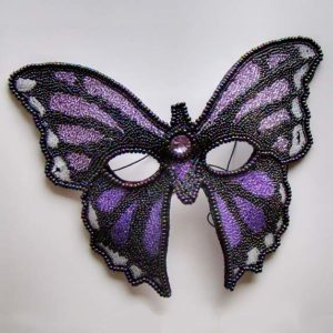Purple Mariposa Butterfly Beaded Mask